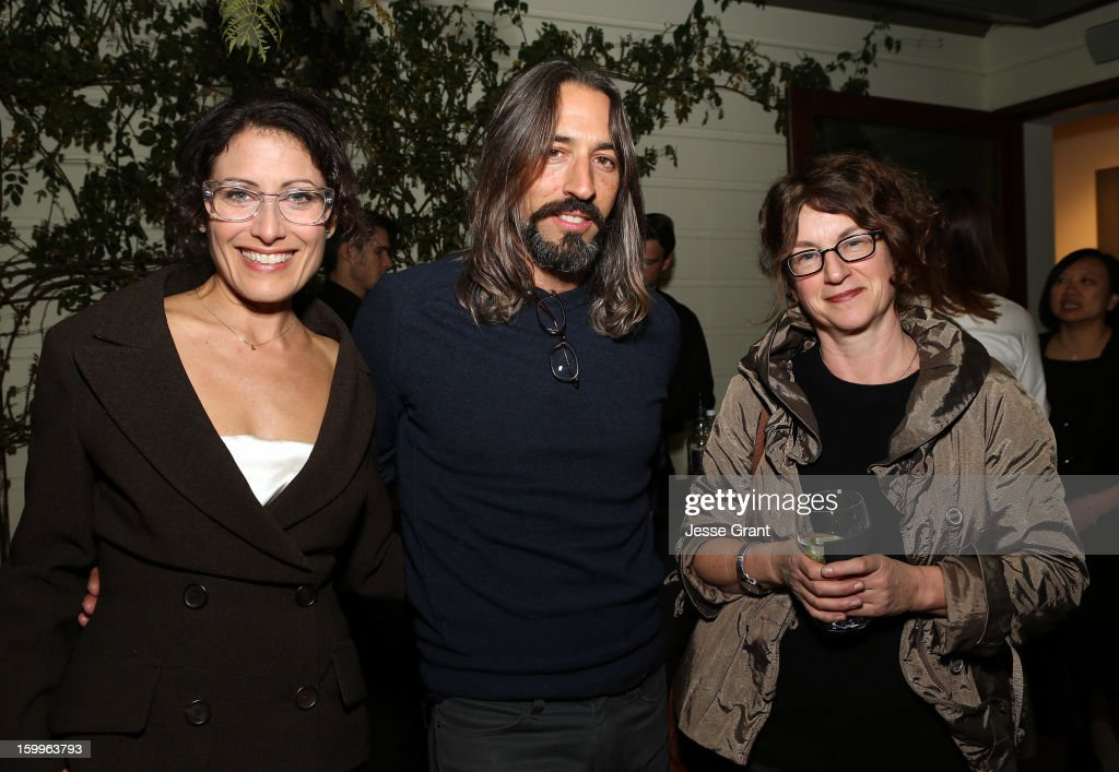 Lisa Edelstein, Robert Russell and Susanne Vielmetter attend the Art Los Angeles Contemporary Reception at the home of Gail and Stanley Hollander on January 23, 2013 in Los Angeles, California.
