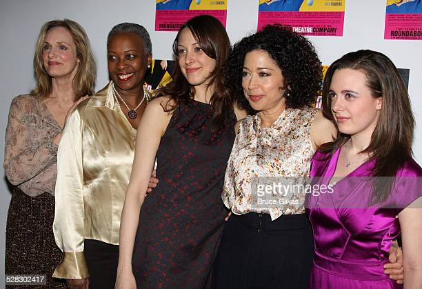 Lisa Emery, Aleta Mitchell, Natalie Gold, Mimi Lieber and Shana Dowdeswell pose the opening night Distracted at the Roundabout Theatre Company's...