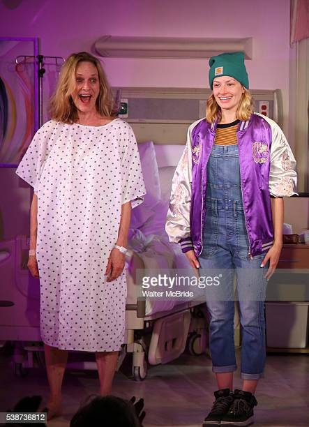Lisa Emery and Beth Behrs during the opening night curtain call for 'A Funny Thing...' at Lucille Lortel Theatre on June 7, 2016 in New York City.