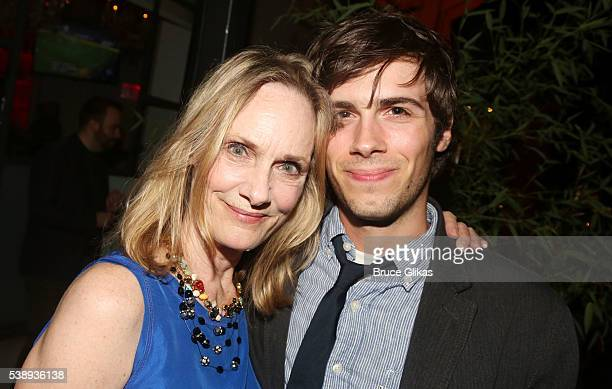 "Lisa Emery and son Zane Pais pose at The Opening Night After Party for MCC Theater's ""A Funny Thing Happened on the Way to the Gynecologic Oncology..."