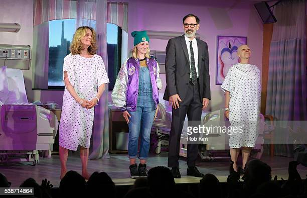 Lisa Emery Beth Behrs Erik Lochtefeld and Jacqueline Sydney attend curtain call during the opening night of A Funny Thing at Lucille Lortel Theatre...