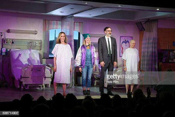 """Lisa Emery, Beth Behrs, Erik Lochtefeld and Jacqueline Sydney attend curtain call during the opening night of """"A Funny Thing..."""" at Lucille Lortel..."""
