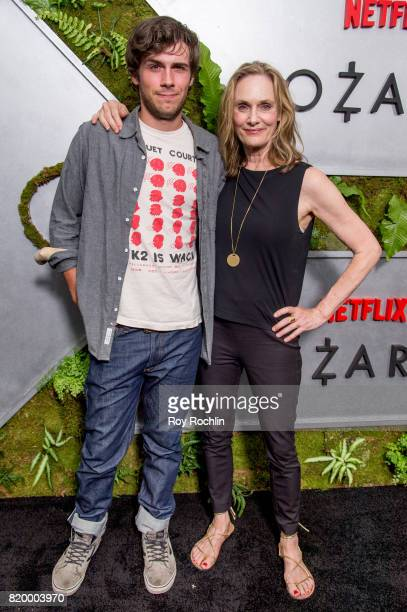 Lisa Emery with son Zane Pais attend the Ozark New York Screening at The Metrograph on July 20 2017 in New York City