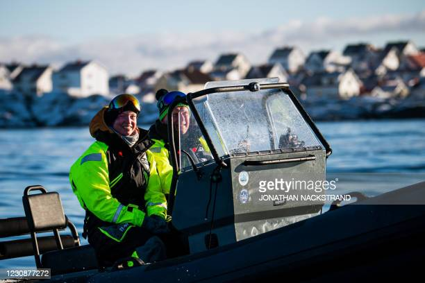 Lisa Enroth an emergency nurse and film fan from Skovde is pictured on a boat on the way to Hamneskar island, near Marstrand island, north west of...