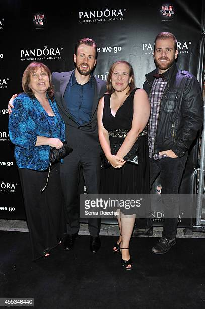 Lisa Evans Actor/Director/Producer Chris Evans Carly Evans and Scott Evans attend theBefore We Go cocktail reception with Chris Evans presented by...