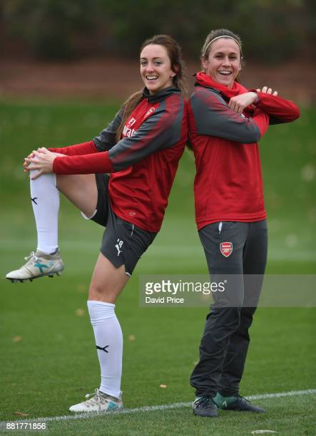 Lisa Evans and Heather O'Reilly of Arsenal Women during the Arsenal Womens Training Session at London Colney on November 29 2017 in St Albans England