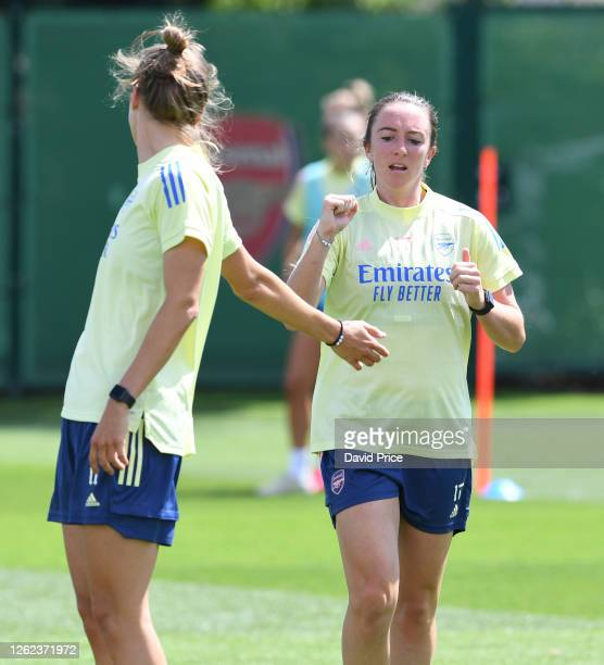 Lisa Evans and Vivianne Miedema of Arsenal during the Arsenal Women training session at Arsenal Academy on July 29 2020 in Walthamstow England