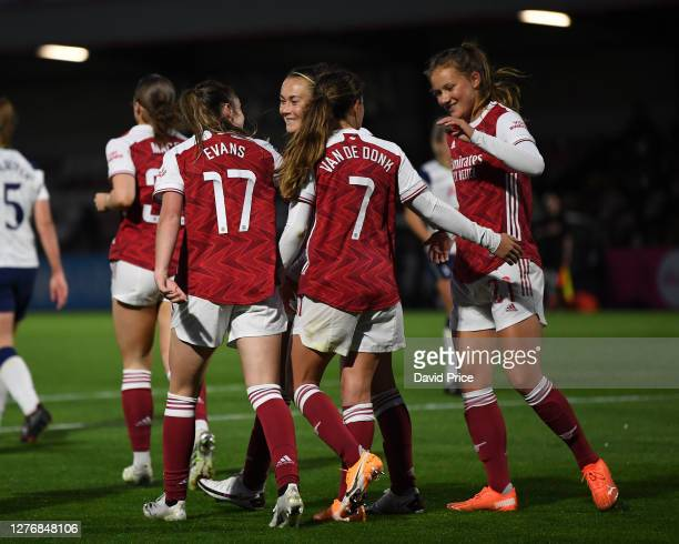 Lisa Evans celebrates scoring Arsenal's 4th goal her 3rd with her team mates Caitlin Foord Malin Gut and Danielle van de Donk during the Women's FA...