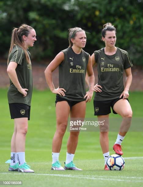 Lisa Evans Katie McCabe and Viktoria Schnaderbeck of Arsenal Women during the Arsenal Womens Training Session at London Colney on July 16 2018 in St...