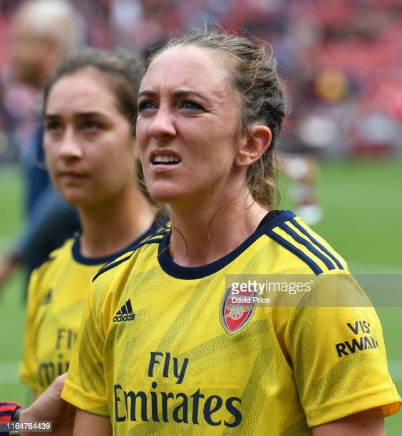 Lisa Evans of Arsenal after the match between Arsenal and Olympique Lyonnais at Emirates Stadium on July 28 2019 in London England