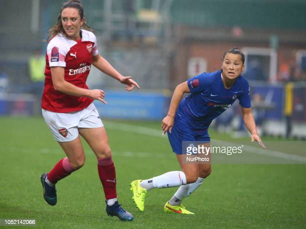 LR Lisa Evans of Arsenal and Chelsea Ladies Ali Riley making her Debut during The FA Women's Super League match between Chelsea FC Women and Arsenal...