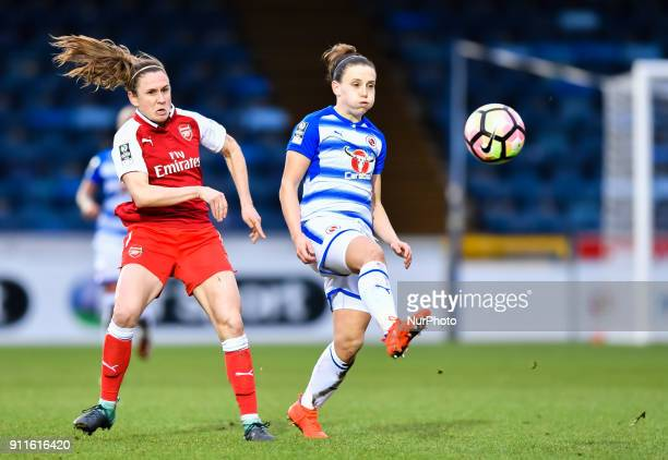 Lisa Evans of Arsenal battles for possession with Natasha Harding of Reading FC Women during Women's Super League 1 match between Reading FC Women...