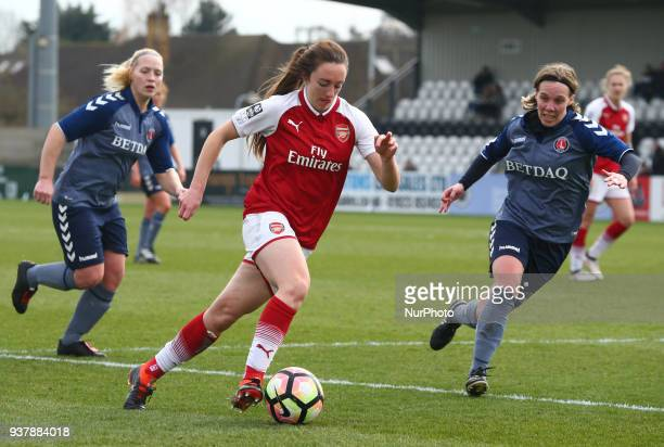 Lisa Evans of Arsenal during SSE Women's FA Cup quarter_final match between Arsenal against Charlton Athletic Women at Meadow Park Borehamwood FC on...