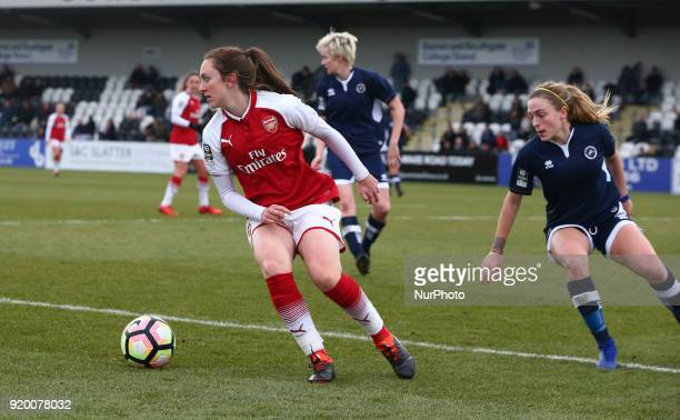 Lisa Evans of Arsenal during The FA Women's Cup Fifth Round match between Arsenal against Millwall Lionesses at Meadow Park Borehamwood FC on 18 Feb...