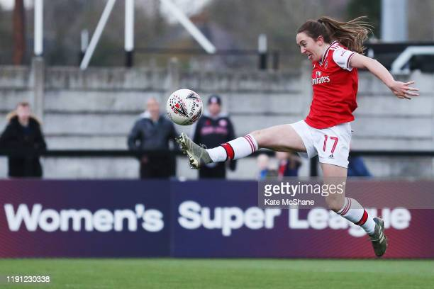 Lisa Evans of Arsenal scores her sides ninth goal during the Barclays FA Women's Super League match between Arsenal and Bristol City at Meadow Park...