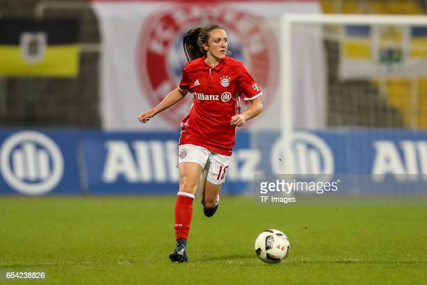 Lisa Evans of Bayern Muenchen controls the ball during the Women's DFB Cup Quarter Final match between FC Bayern Muenchen and VfL Wolfsburg at the...