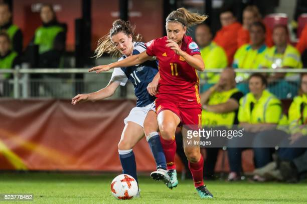 Lisa Evans of Scotland women Alexia Putellas of Spain women during the UEFA WEURO 2017 Group D group stage match between Scotland and Spain at The...