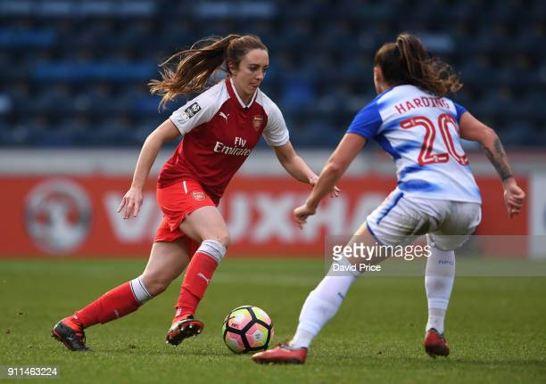 Lisa Evans of the Arsenal Women cuts inside Natasha Harding of Reading during the match between Reading FC Women and Arsenal Women at Adams Park on...