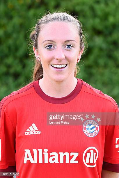 Lisa Evans poses during the team presentation of the FC Bayern Muenchen women's team on July 27 2015 in Munich Germany