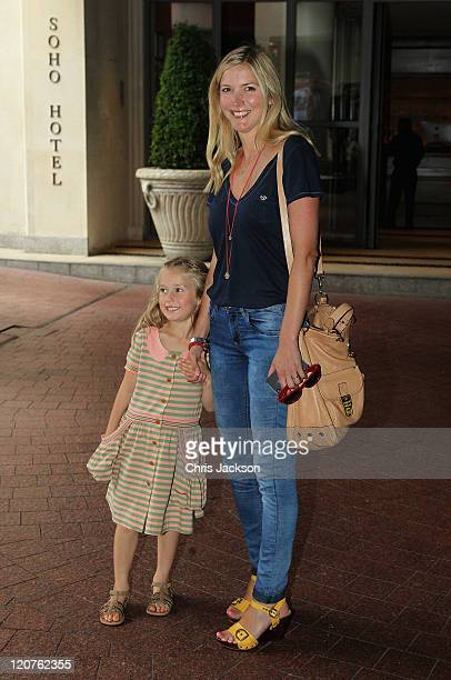 Lisa Faulkner with her daughter Billie attend the Smurfs in 3D UK Gala Premiere and Tea Party at Soho Hotel on August 9 2011 in London England