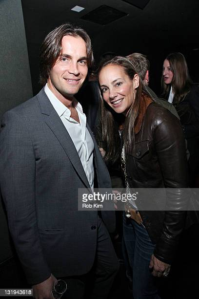 Lisa Fields of GQ and Jake Deutsch attend the GQ New Management party at The Double Seven on November 8, 2011 in New York City.