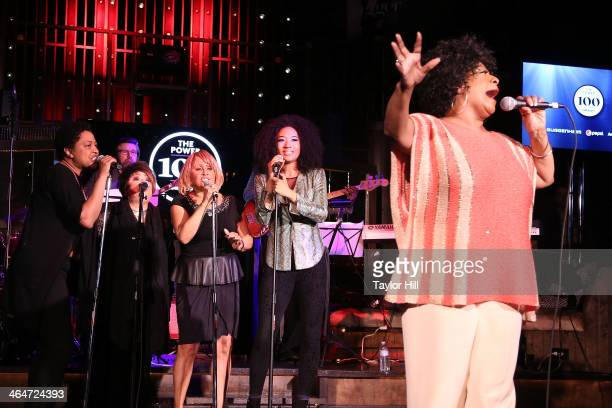 Lisa Fischer Tata Vega Darlene Love Judith Hill and Merry Clayton perform during the 2nd annual Billboard Magazine Power 100 Cocktail Reception at...