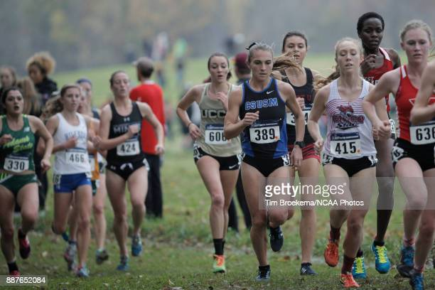 Lisa Flora of California State University of San Marcos competes during the Division II Women's Cross Country Championship held at the Angel Mounds...