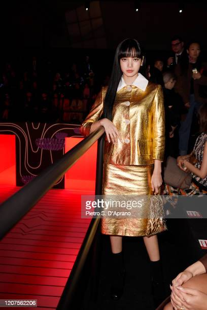 Lisa from Blackpink attends the Prada show during Milan Fashion Week Fall/Winter 2020/2021 on February 20 2020 in Milan Italy