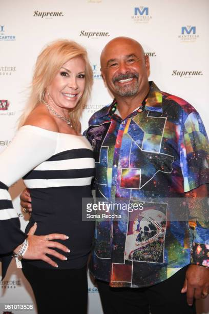 Lisa Fuhr and Edmonton Oilers Hall of Fame Goaltender Grant Fuhr attend Joe Carter Classic After Party at Ritz Carlton on June 21 2018 in Toronto...