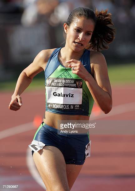 Lisa Galaviz competes in the women's 3000 meter steeplechase on the third day of the AT&T USA Outdoor Track and Field Championships at Indiana...