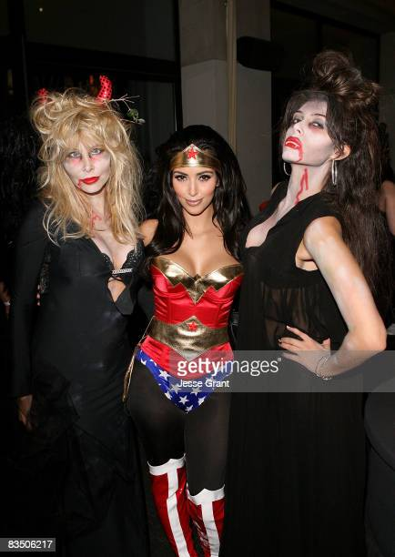 Lisa Gastineau, Kim Kardashian and Brittny Gastineau attend Kim Kardashian's Halloween party hosted by PAMA at Stone Rose on October 30, 2008 in Los...
