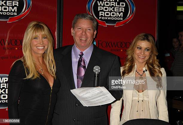Lisa Gastineau Mike Sexton and Carmen Electra during The Ceremonial First Hand to Celebrate Foxwoods Resort Casino's New World Poker Tour Branded...