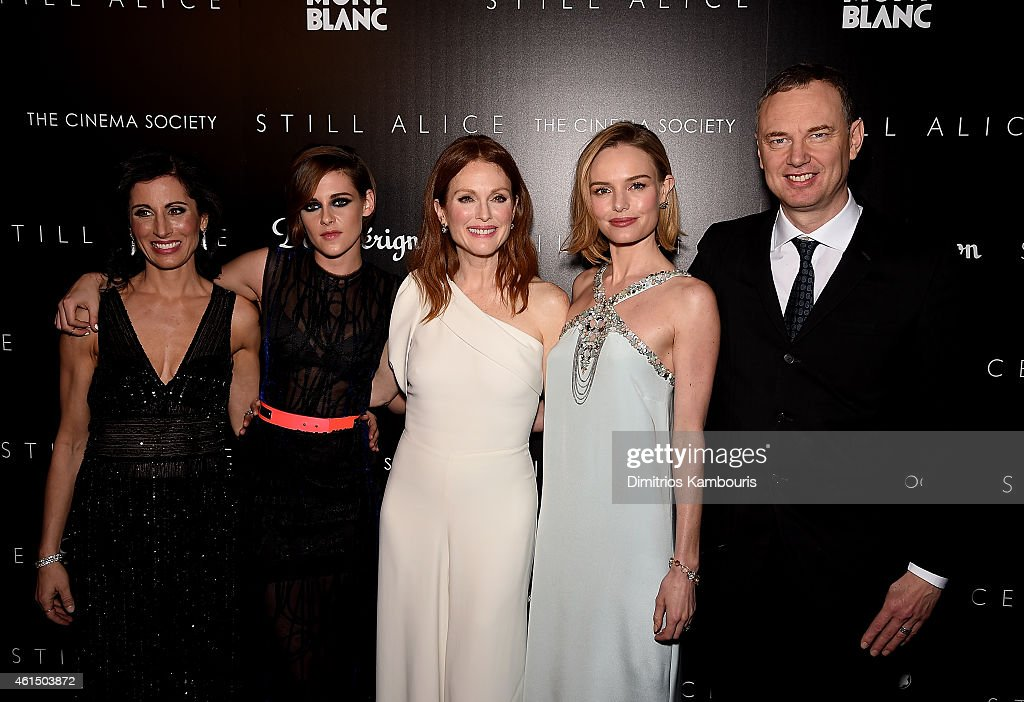 Lisa Genova, Kristen Stewart, Julianne Moore, Kate Bosworth and Wash Westmoreland attend The Cinema Society with Montblanc and Dom Perignon screening of Sony Pictures Classics' 'Still Alice' at Landmark's Sunshine Cinema on January 13, 2015 in New York City.