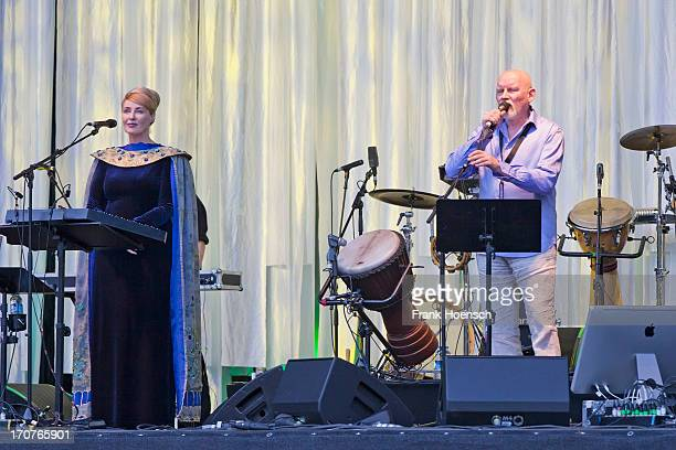 Lisa Gerrard and Brendan Perry of Dead Can Dance perform live during a concert at the Zitadelle Spandau on June 17, 2013 in Berlin, Germany.