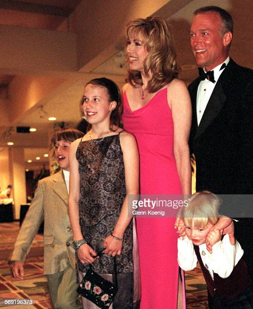 Lisa Gibbons and husband Stephens Meadows with their children Troy Alexandra and Nathan During the Black and White Ball 2000 benefit for Olive Crest...