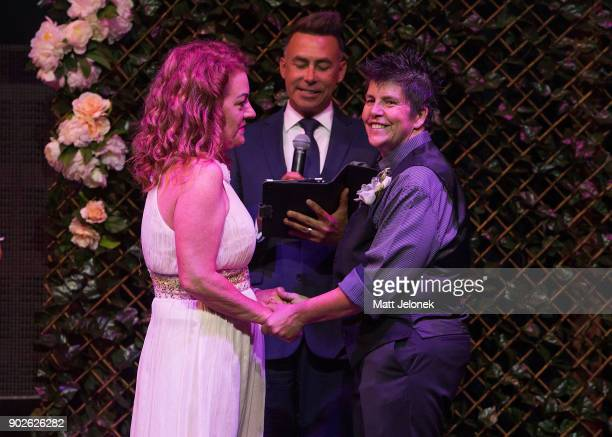 Lisa Goldsmith and Gillian Brady during the wedding ceremony at The Court on January 9 2018 in Perth Australia Couples across Australia wed in...
