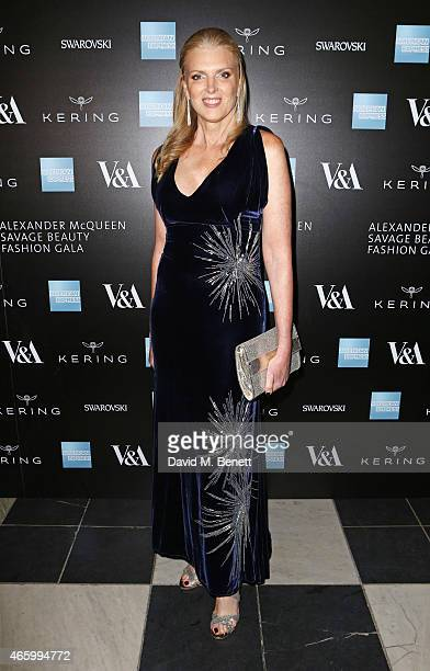 Lisa Gregg, VP of American Express, arrives at the Alexander McQueen: Savage Beauty Fashion Gala at the V&A, presented by American Express and Kering...