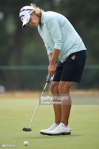 Lisa Grimes putts on the 18th green during the first round of the US Senior Women's Open at Chicago Golf Club on July 12 2018 in Wheaton Illinois