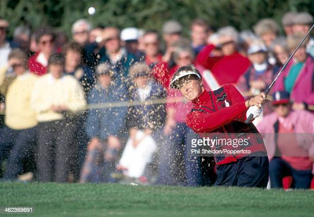 Lisa Hackney of the European Team shoots out of a bunker during the Solheim Cup golf competition held at the St Pierre Hotel and Country Club in...