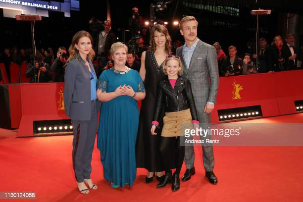 Lisa Hagmeister a guest Nora Fingscheidt Helena Zengel and Albrecht Schuch arrive for the closing ceremony of the 69th Berlinale International Film...