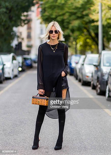 Lisa Hahnbeuck wearing Talk About Sheer Dress shorts Levi's 501ct, Bag: MCM Rockstar Case / Vanity Case Overknees: Christian Louboutin sunglasses:...