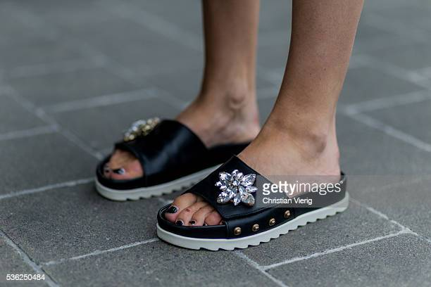 Lisa Hahnbueck at the airport wearing Marc Cain slippers on June 1 2016 in Duesseldorf Germany