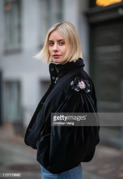 Lisa Hahnbueck is seen wearing black cropped Moncler jacket denim jeans Goldsign during the Copenhagen Fashion Week Autumn/Winter 2019 Day 3 on...
