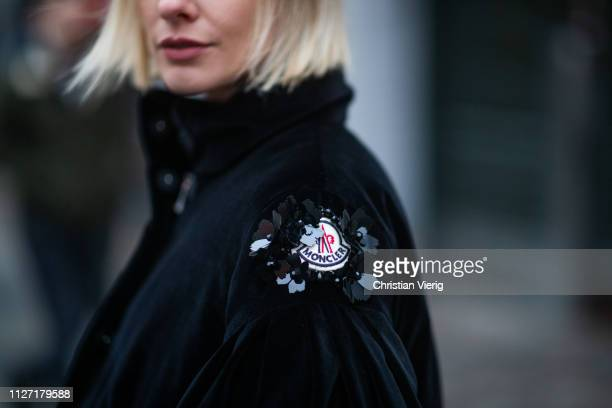 Lisa Hahnbueck is seen wearing black cropped Moncler jacket during the Copenhagen Fashion Week Autumn/Winter 2019 Day 3 on January 31 2019 in...