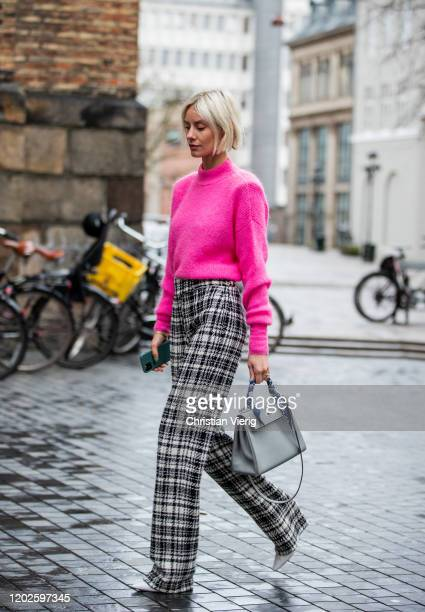 Lisa Hahnbueck seen wearing ley cocotes des Paris jumper, üterque checkered pants, Jimmy Choo heels, Hermes kelly bag outside Blanche on Day 1 during...