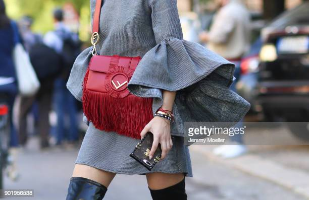 Lisa Hahnbueck wearing a Fendi bag Louis Vuitton iPhone Case on September 21 2017 in Milan