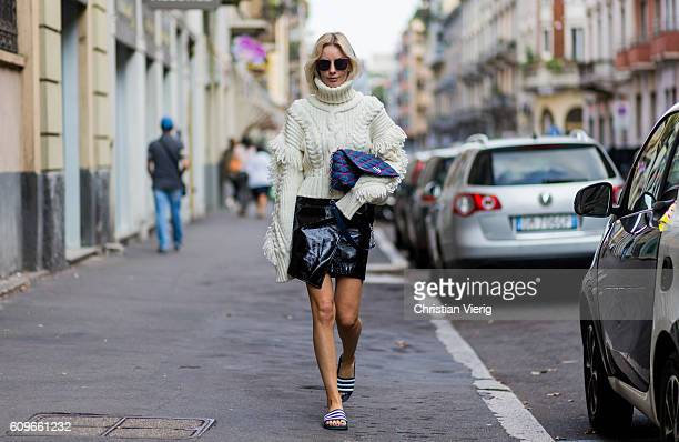 Lisa Hahnbueck wearing a OffWhite Knit Turtle Neck Oversized Sleeves Fringes Mango Asymmetric Patent Leather Skirt with Belt Adiletten Louis Vuitton...