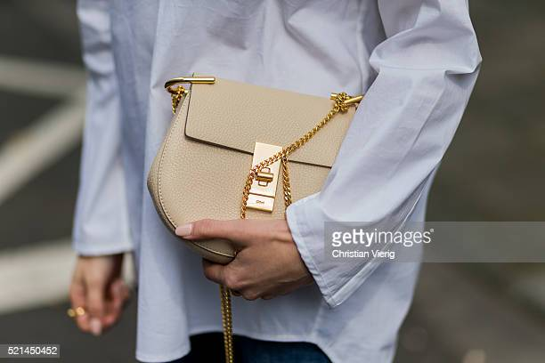 Lisa Hahnbueck wearing a white button shirt from Steffen Schraut blue denim jeans from Closed a creme bag from Chloe on April 14 2016 in Cologne...