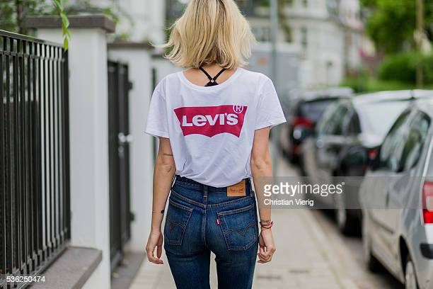 Lisa Hahnbueck wearing a white Levis tshirt and navy Levis denim jeans on June 1 2016 in Duesseldorf Germany