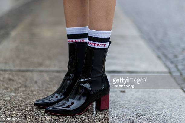 Lisa Hahnbueck wearing Aeyde Patent Leather Naplak Ankle Boots Vetements sexual fantasies cotton blend socks on November 16 2016 in Berlin Germany